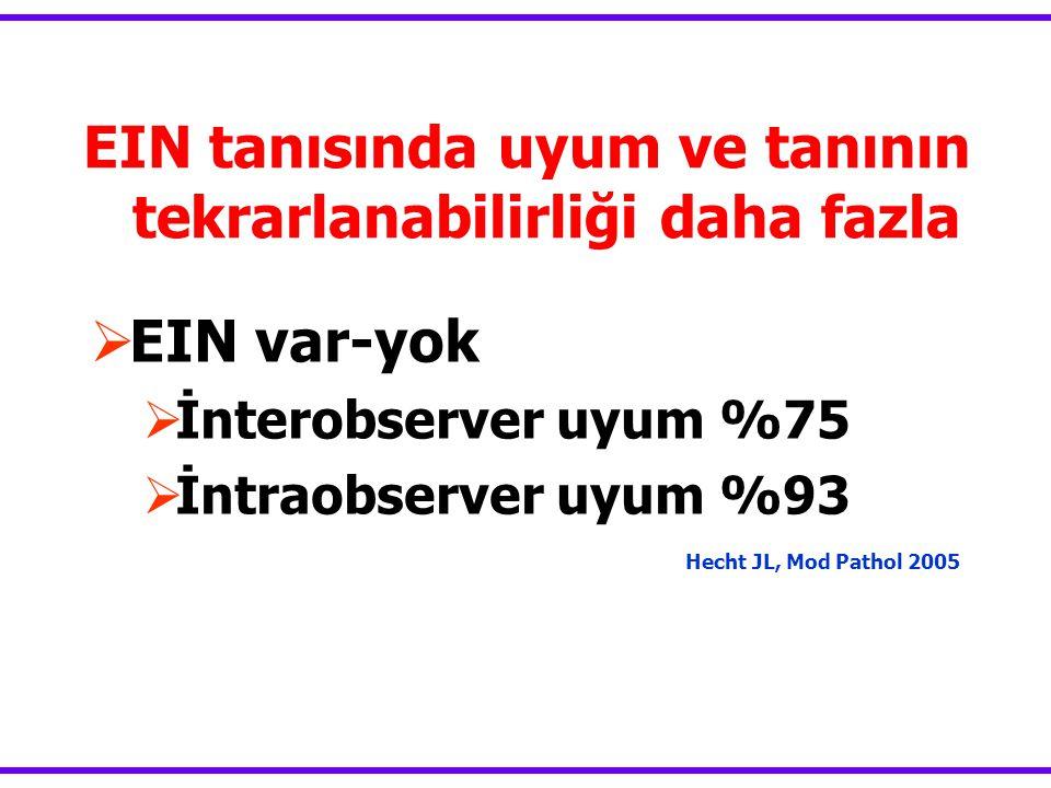 EIN tanısında uyum ve tanının tekrarlanabilirliği daha fazla Hecht JL, Mod Pathol 2005  EIN var-yok  İnterobserver uyum %75  İntraobserver uyum %93