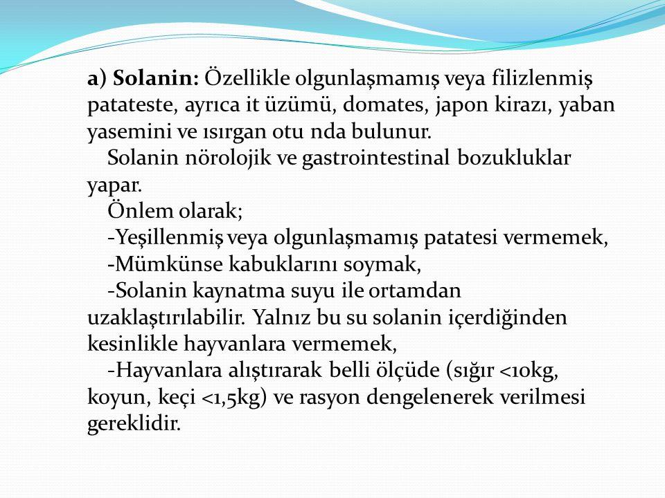 a) Solanin: Özellikle olgunlaşmamış veya filizlenmiş patateste, ayrıca it üzümü, domates, japon kirazı, yaban yasemini ve ısırgan otu nda bulunur. Sol