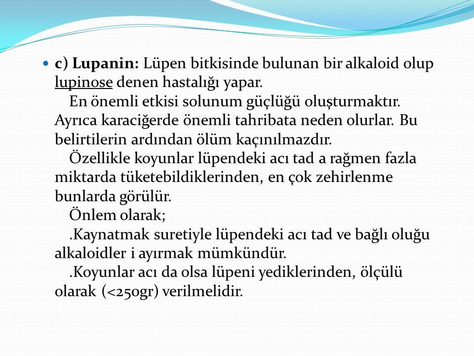 c) Lupanin: Lüpen bitkisinde bulunan bir alkaloid olup lupinose denen hastalığı yapar. En önemli etkisi solunum güçlüğü oluşturmaktır. Ayrıca karaciğe