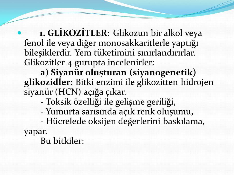 1. GLİKOZİTLER: Glikozun bir alkol veya fenol ile veya diğer monosakkaritlerle yaptığı bileşiklerdir. Yem tüketimini sınırlandırırlar. Glikozitler 4 g