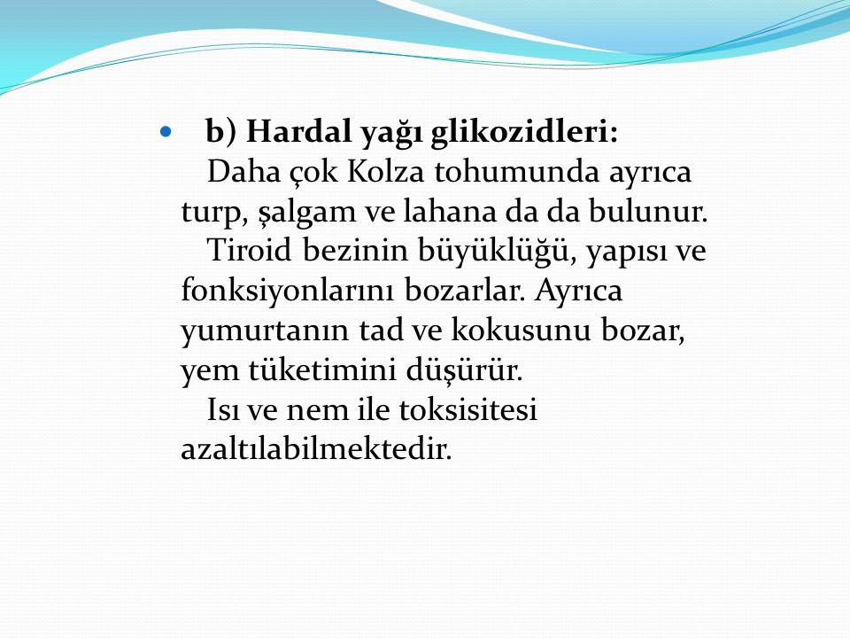 b) Hardal yağı glikozidleri: Daha çok Kolza tohumunda ayrıca turp, şalgam ve lahana da da bulunur. Tiroid bezinin büyüklüğü, yapısı ve fonksiyonlarını