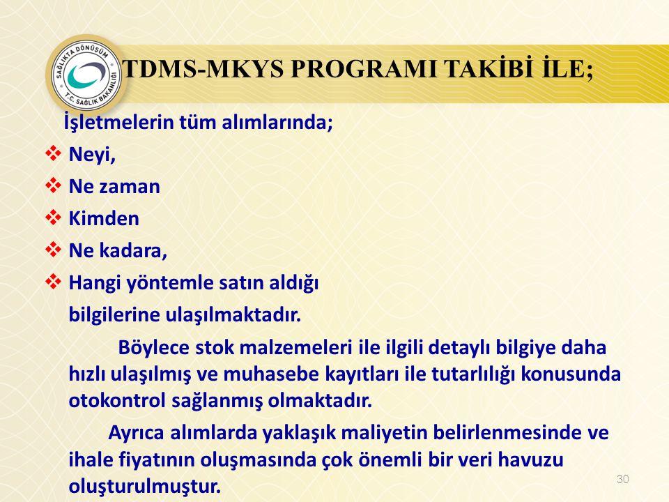 TDMS-MKYS PROGRAMI TAKİBİ İLE; İşletmelerin tüm alımlarında;  Neyi,  Ne zaman  Kimden  Ne kadara,  Hangi yöntemle satın aldığı bilgilerine ulaşıl