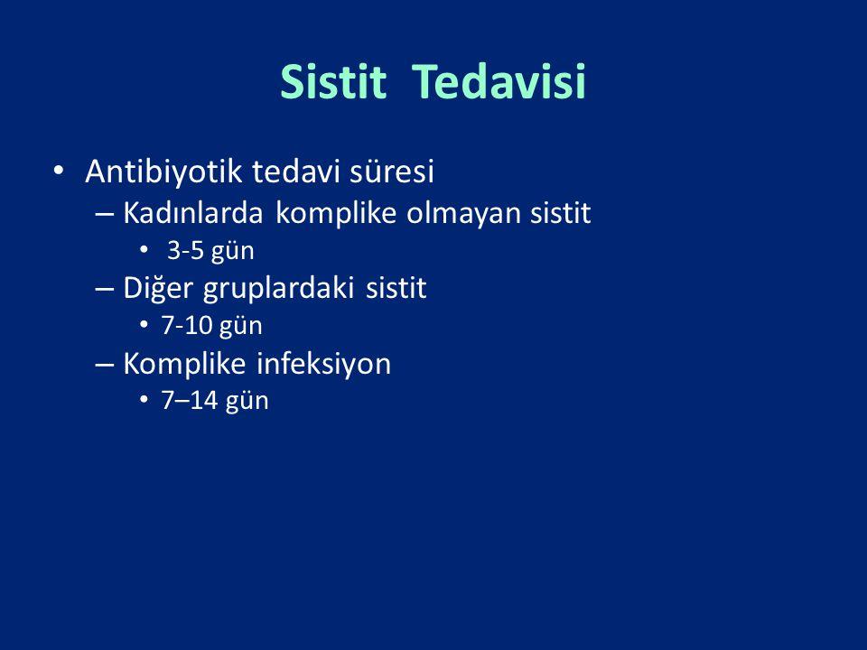 Sistit Tedavisi Antibiyotik tedavi süresi – Kadınlarda komplike olmayan sistit 3-5 gün – Diğer gruplardaki sistit 7-10 gün – Komplike infeksiyon 7–14