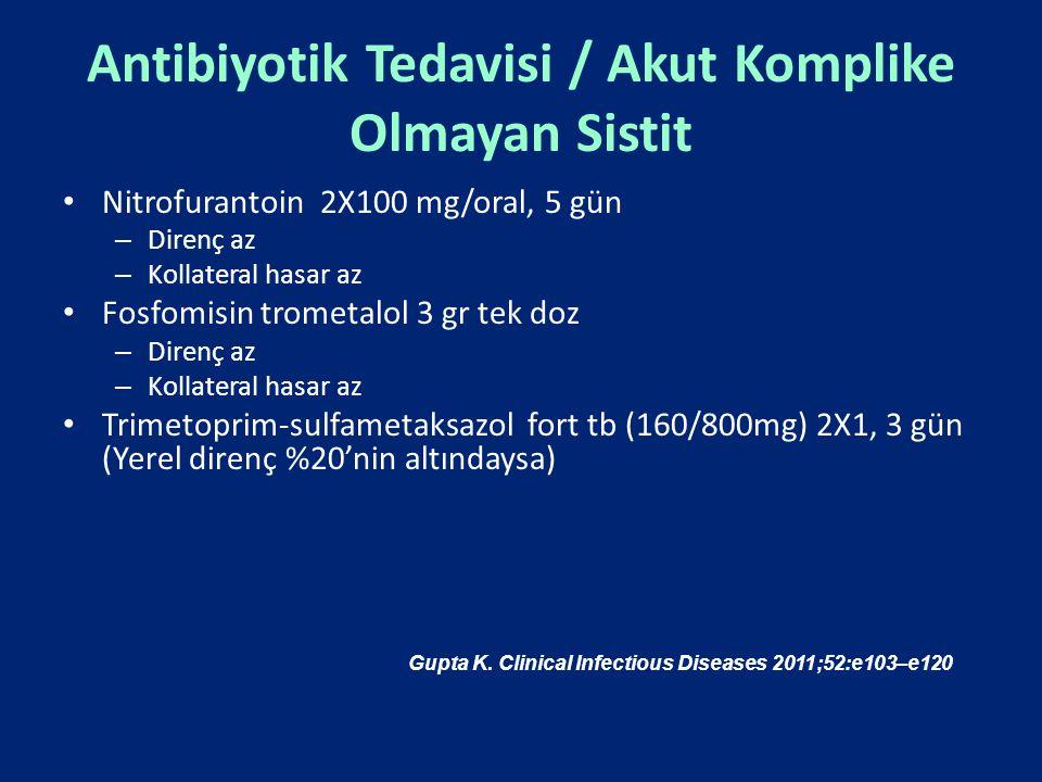 Antibiyotik Tedavisi / Akut Komplike Olmayan Sistit Nitrofurantoin 2X100 mg/oral, 5 gün – Direnç az – Kollateral hasar az Fosfomisin trometalol 3 gr t