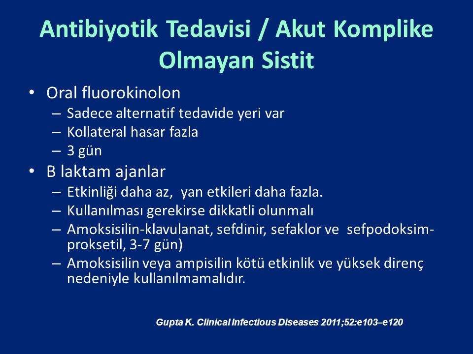 Antibiyotik Tedavisi / Akut Komplike Olmayan Sistit Oral fluorokinolon – Sadece alternatif tedavide yeri var – Kollateral hasar fazla – 3 gün Β laktam