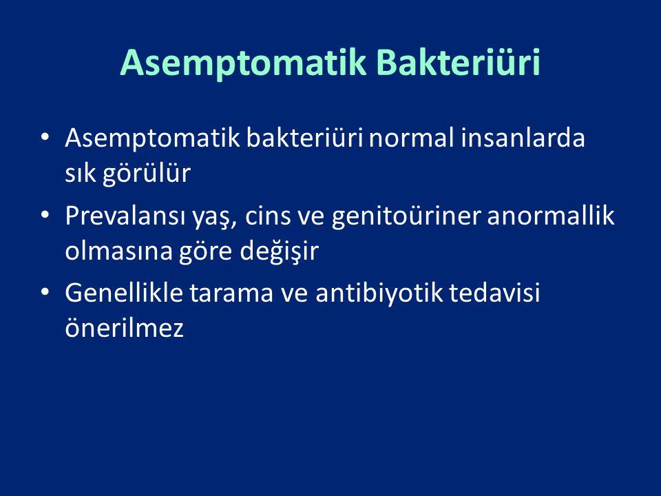 Asemptomatik Bakteriüri Asemptomatik bakteriüri normal insanlarda sık görülür Prevalansı yaş, cins ve genitoüriner anormallik olmasına göre değişir Ge
