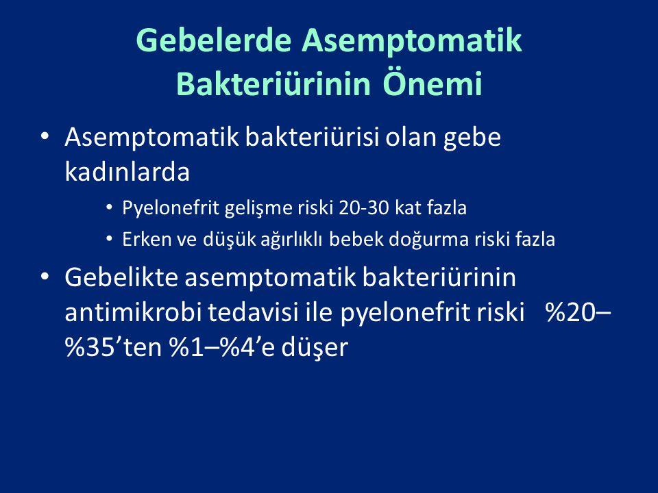 Gebelerde Asemptomatik Bakteriürinin Önemi Asemptomatik bakteriürisi olan gebe kadınlarda Pyelonefrit gelişme riski 20-30 kat fazla Erken ve düşük ağı