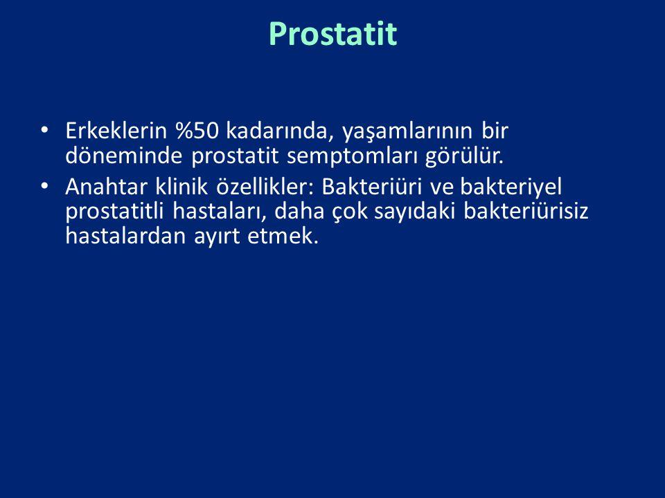 Prostatit Erkeklerin %50 kadarında, yaşamlarının bir döneminde prostatit semptomları görülür. Anahtar klinik özellikler: Bakteriüri ve bakteriyel pros