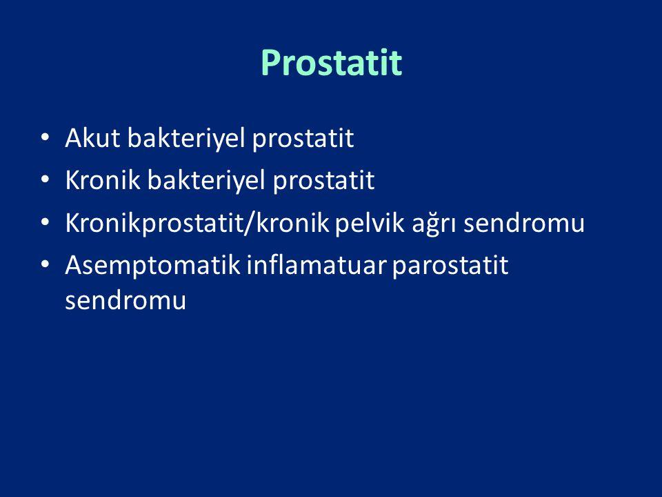 Prostatit Akut bakteriyel prostatit Kronik bakteriyel prostatit Kronikprostatit/kronik pelvik ağrı sendromu Asemptomatik inflamatuar parostatit sendro
