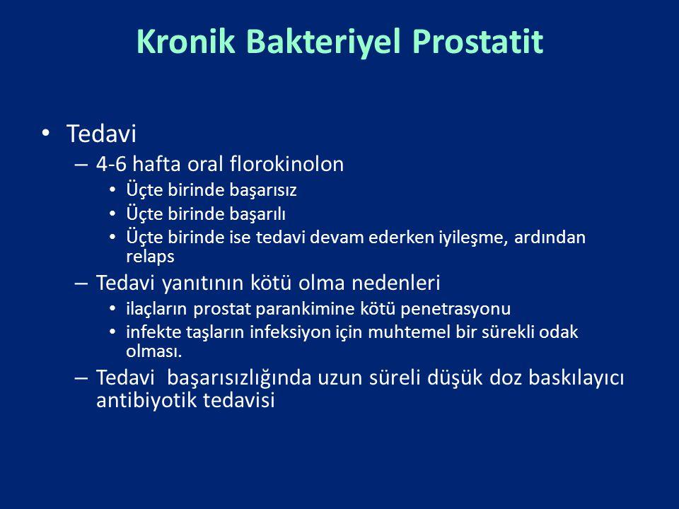 Kronik Bakteriyel Prostatit Tedavi – 4-6 hafta oral florokinolon Üçte birinde başarısız Üçte birinde başarılı Üçte birinde ise tedavi devam ederken iy