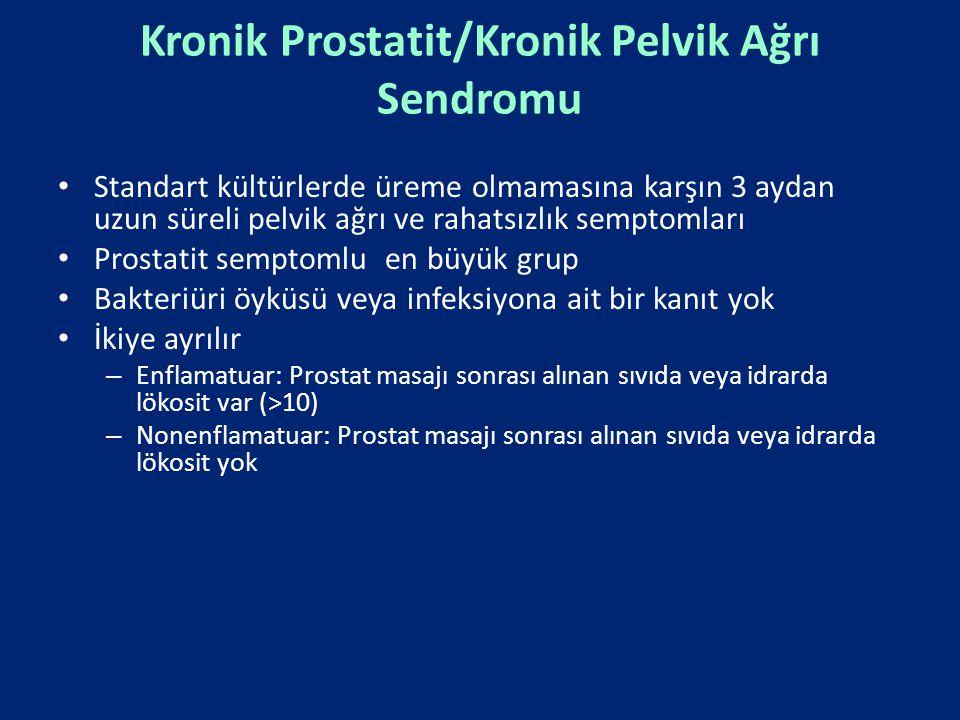 Kronik Prostatit/Kronik Pelvik Ağrı Sendromu Standart kültürlerde üreme olmamasına karşın 3 aydan uzun süreli pelvik ağrı ve rahatsızlık semptomları P