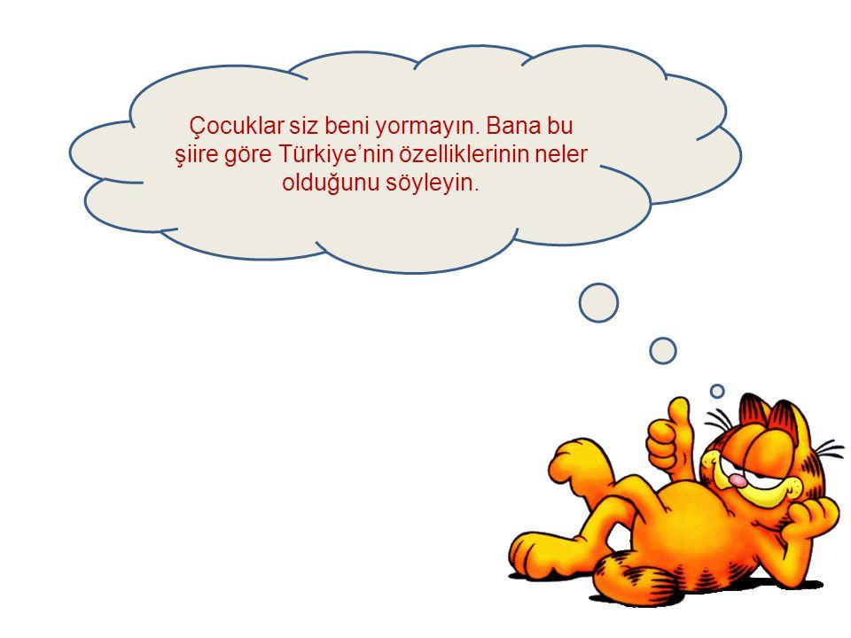 Yurdumuz Türkiye Türkiye güzel yurdum Karadeniz ılıktır Canım sana fedadır. Her mevsim yağmur yağar Kıyıları dağları Doğu'da kışlar soğuk Tarihte hep