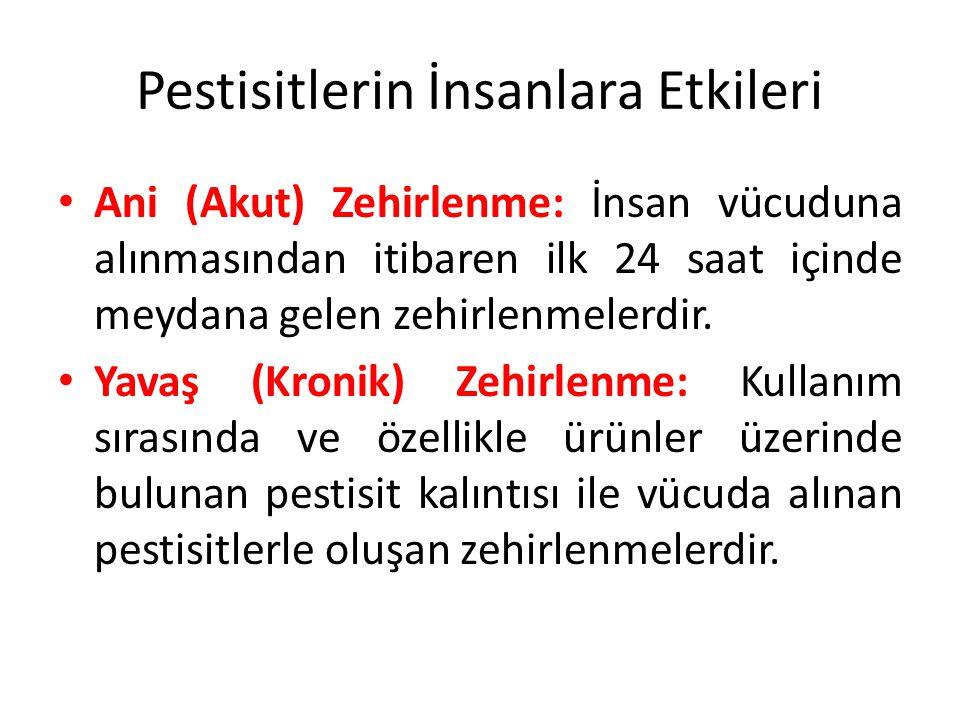 Pestisitlerin İnsanlara Etkileri Ani (Akut) Zehirlenme: İnsan vücuduna alınmasından itibaren ilk 24 saat içinde meydana gelen zehirlenmelerdir.