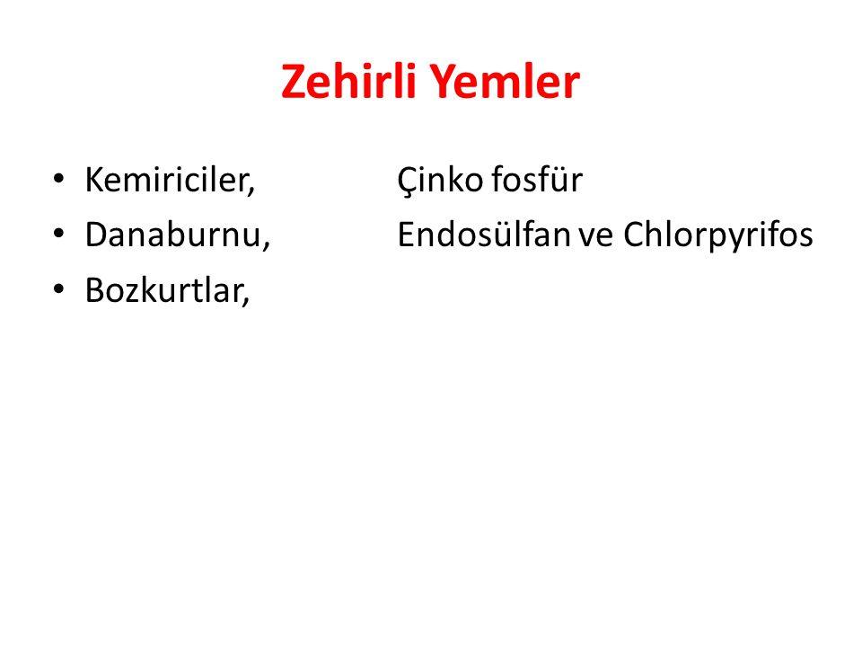 Zehirli Yemler Kemiriciler,Çinko fosfür Danaburnu,Endosülfan ve Chlorpyrifos Bozkurtlar,