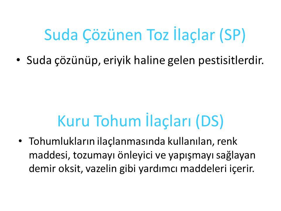 Suda Çözünen Toz İlaçlar (SP) Suda çözünüp, eriyik haline gelen pestisitlerdir.