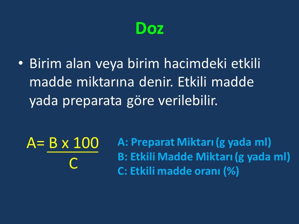 Doz Birim alan veya birim hacimdeki etkili madde miktarına denir. Etkili madde yada preparata göre verilebilir. A= B x 100 C A: Preparat Miktarı (g ya