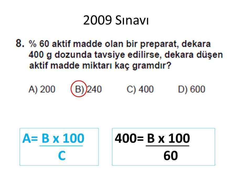 2009 Sınavı A= B x 100 C 400= B x 100 60