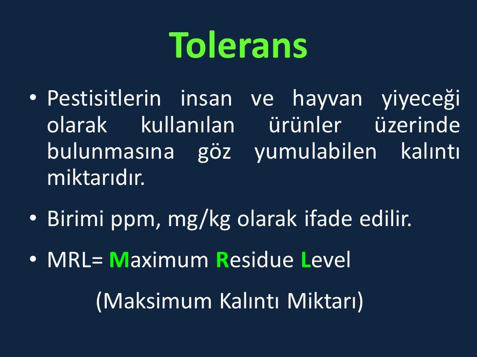 Tolerans Pestisitlerin insan ve hayvan yiyeceği olarak kullanılan ürünler üzerinde bulunmasına göz yumulabilen kalıntı miktarıdır. Birimi ppm, mg/kg o