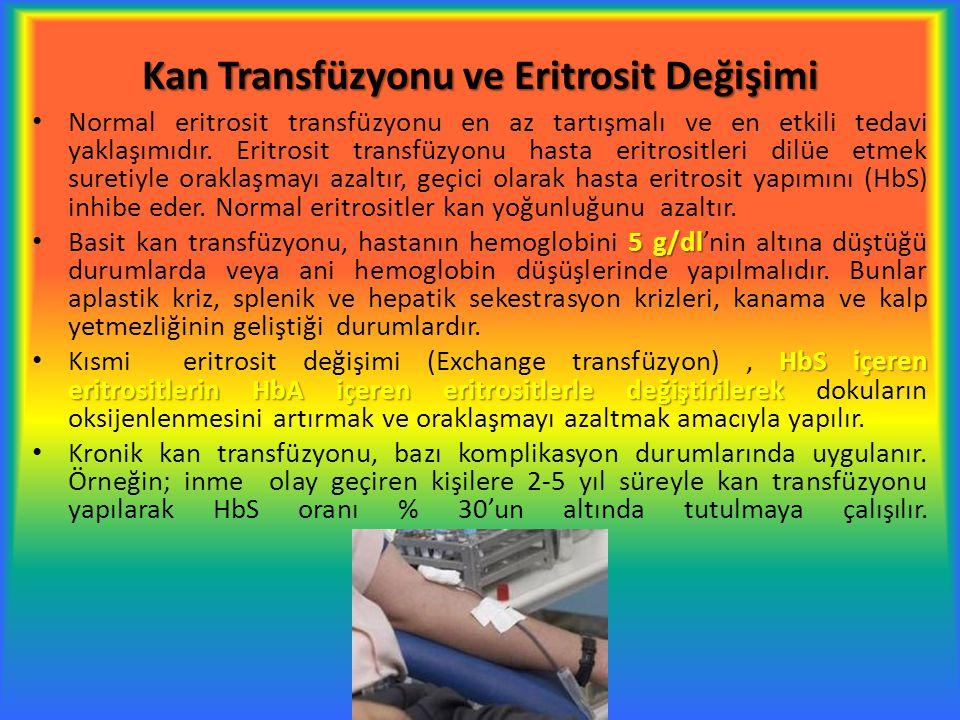 Kan Transfüzyonu ve Eritrosit Değişimi Normal eritrosit transfüzyonu en az tartışmalı ve en etkili tedavi yaklaşımıdır. Eritrosit transfüzyonu hasta e