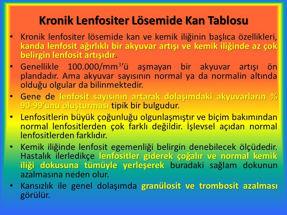 Kronik Lenfositer Lösemide Kan Tablosu kanda lenfosit ağırlıklı bir akyuvar artışı ve kemik iliğinde az çok belirgin lenfosit artışıdır Kronik lenfosi