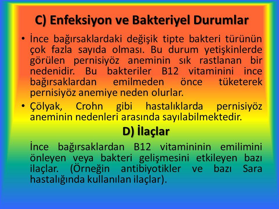 E) Beslenme et, kümes hayvanları, balık, yumurta ve süt ürünleridir Bazı kişilerde besinlerle yeteri kadar B12 vitamini alınmadığı için pernisiyöz anemi gelişebilmektedir.