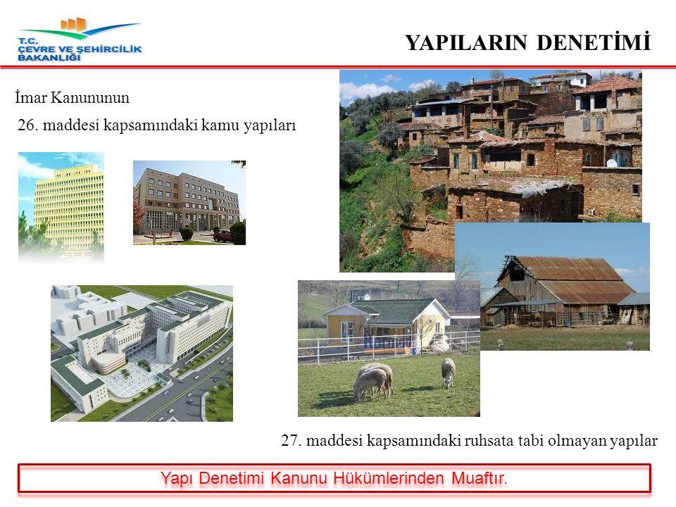 YAPILARIN DENETİMİ Bodrum katı dışında en çok iki katlı ve yapı inşaat alanı toplam iki yüz metrekareyi geçmeyen müstakil yapılar.