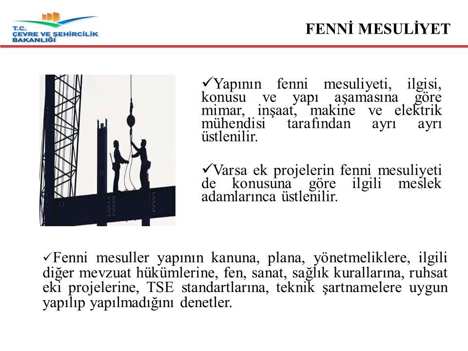 Mimar ve inşaat mühendisi 30000 m², makine mühendisi 60000 m², elektrik mühendisi 120000 m²'den fazla inşaatın fenni mesuliyetini aynı anda üstlenemez.