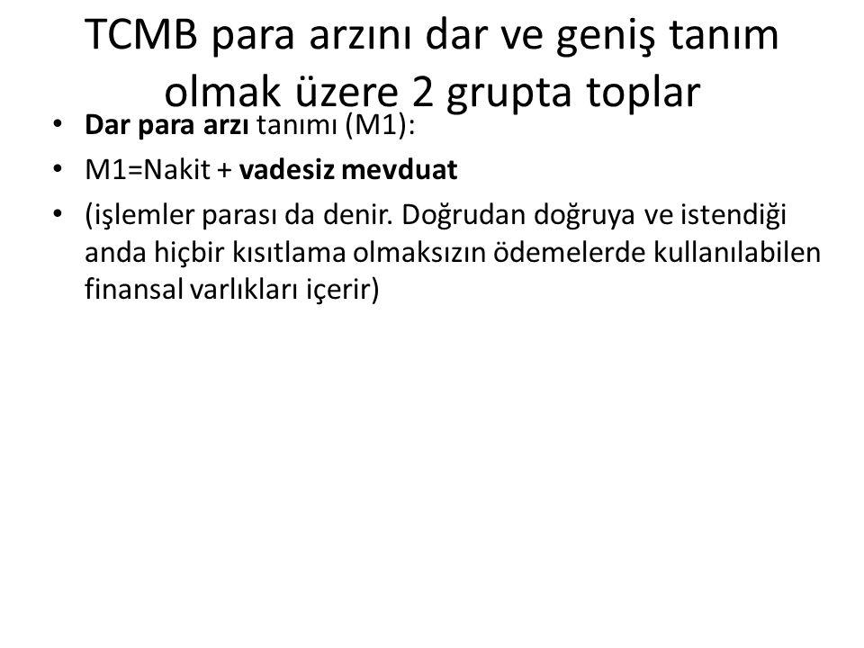 TCMB para arzını dar ve geniş tanım olmak üzere 2 grupta toplar Dar para arzı tanımı (M1): M1=Nakit + vadesiz mevduat (işlemler parası da denir.