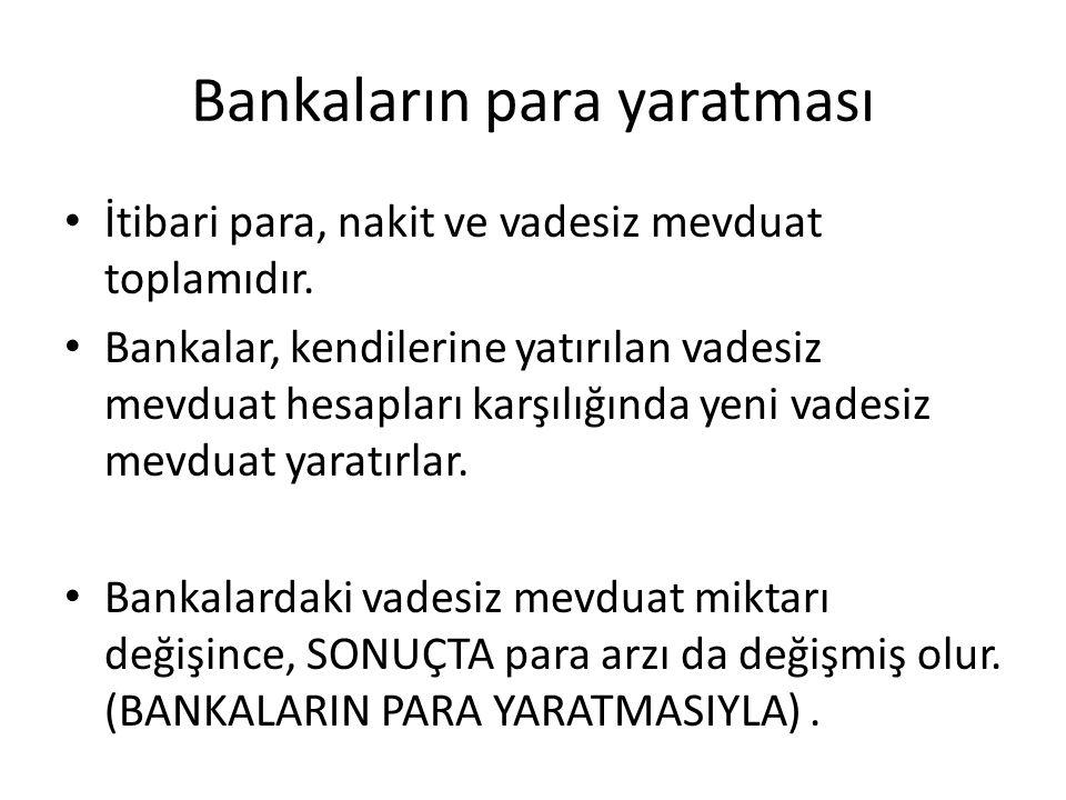 Bankaların para yaratması İtibari para, nakit ve vadesiz mevduat toplamıdır. Bankalar, kendilerine yatırılan vadesiz mevduat hesapları karşılığında ye