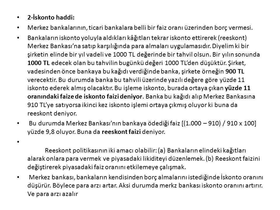 2-İskonto haddi: Merkez bankalarının, ticari bankalara belli bir faiz oranı üzerinden borç vermesi. Bankaların iskonto yoluyla aldıkları kâğıtları tek