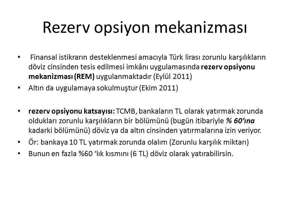 Rezerv opsiyon mekanizması Finansal istikrarın desteklenmesi amacıyla Türk lirası zorunlu karşılıkların döviz cinsinden tesis edilmesi imkânı uygulamasında rezerv opsiyonu mekanizması (REM) uygulanmaktadır (Eylül 2011) Altın da uygulamaya sokulmuştur (Ekim 2011) rezerv opsiyonu katsayısı: TCMB, bankaların TL olarak yatırmak zorunda oldukları zorunlu karşılıkların bir bölümünü (bugün itibariyle % 60'ına kadarki bölümünü) döviz ya da altın cinsinden yatırmalarına izin veriyor.