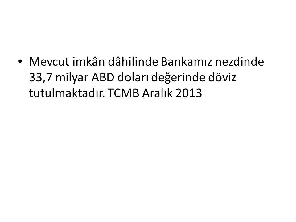 Mevcut imkân dâhilinde Bankamız nezdinde 33,7 milyar ABD doları değerinde döviz tutulmaktadır. TCMB Aralık 2013