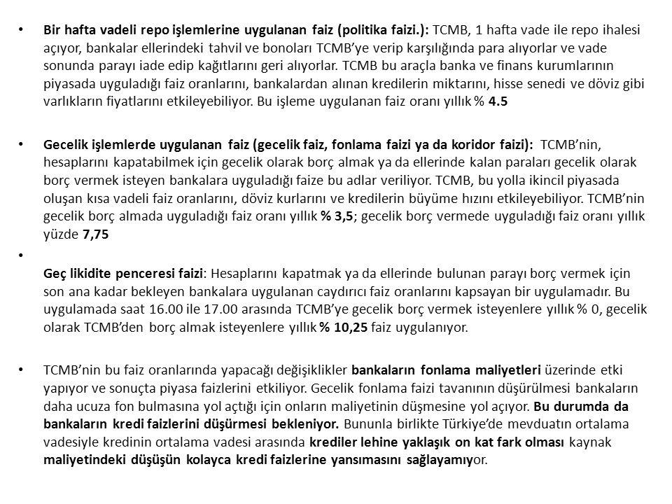 Bir hafta vadeli repo işlemlerine uygulanan faiz (politika faizi.): TCMB, 1 hafta vade ile repo ihalesi açıyor, bankalar ellerindeki tahvil ve bonolar
