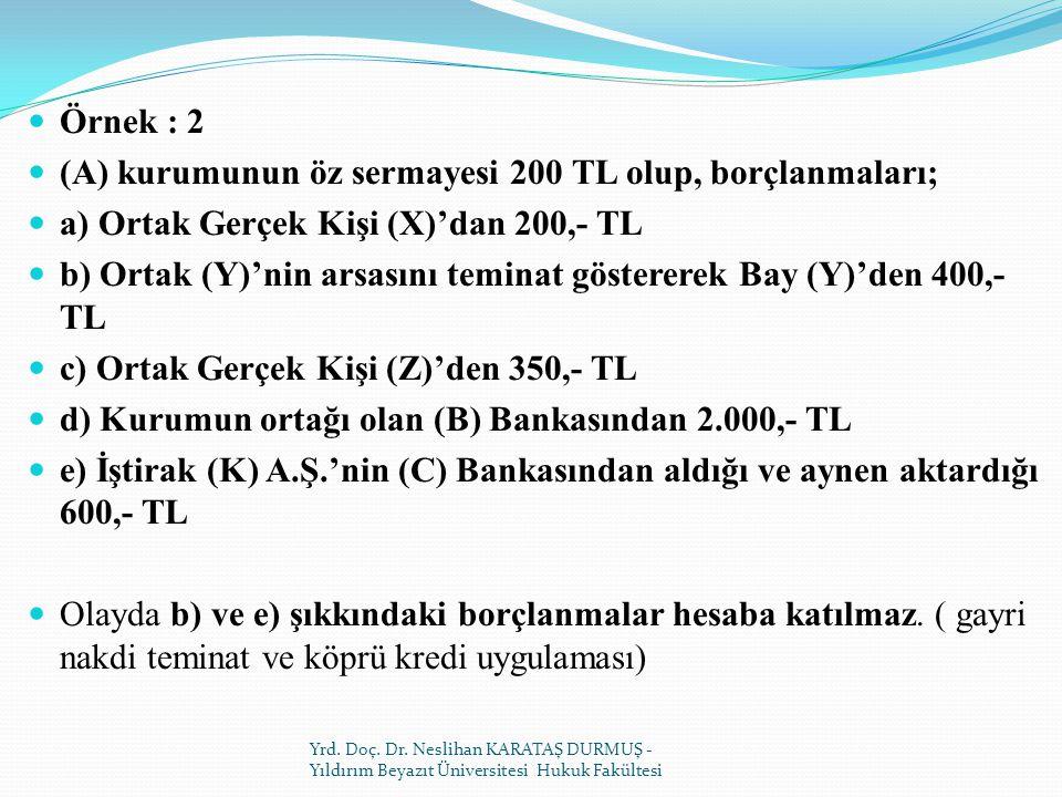 Örnek : 2 (A) kurumunun öz sermayesi 200 TL olup, borçlanmaları; a) Ortak Gerçek Kişi (X)'dan 200,- TL b) Ortak (Y)'nin arsasını teminat göstererek Bay (Y)'den 400,- TL c) Ortak Gerçek Kişi (Z)'den 350,- TL d) Kurumun ortağı olan (B) Bankasından 2.000,- TL e) İştirak (K) A.Ş.'nin (C) Bankasından aldığı ve aynen aktardığı 600,- TL Olayda b) ve e) şıkkındaki borçlanmalar hesaba katılmaz.