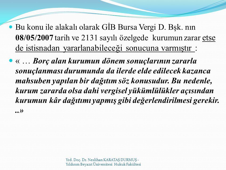 Bu konu ile alakalı olarak GİB Bursa Vergi D.Bşk.