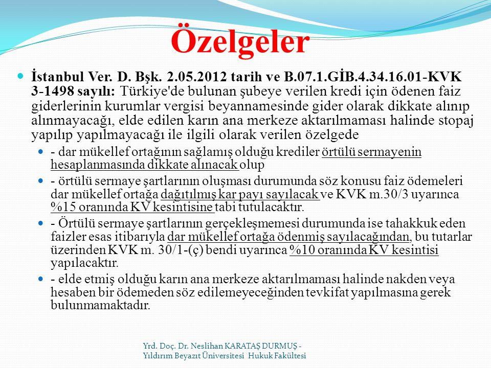 Özelgeler İstanbul Ver.D. Bşk.