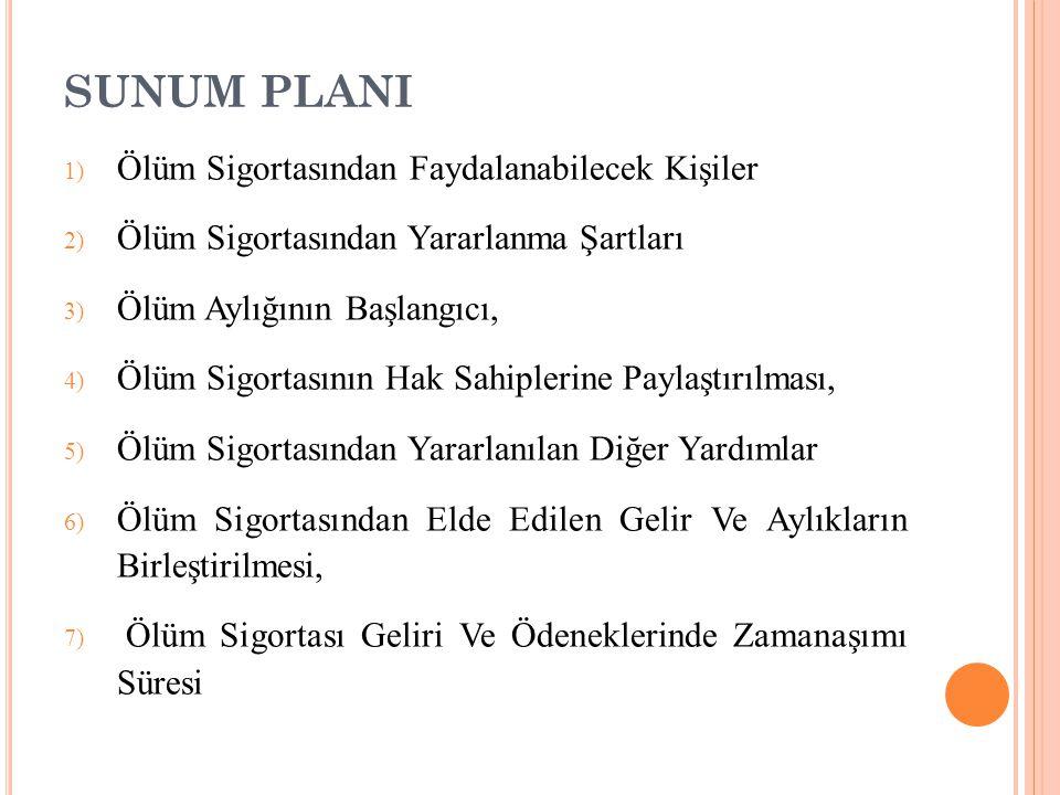 6) ÖLÜM SİGORTASINDAN ELDEN EDİLEN AYLIK VE ÖDENEKLERİN BİRLEŞTİRLMESİ A) UZUN VADELİ SİGORTA KOLLARI BAKIMINDAN 5510 sayılı kanunun 54.