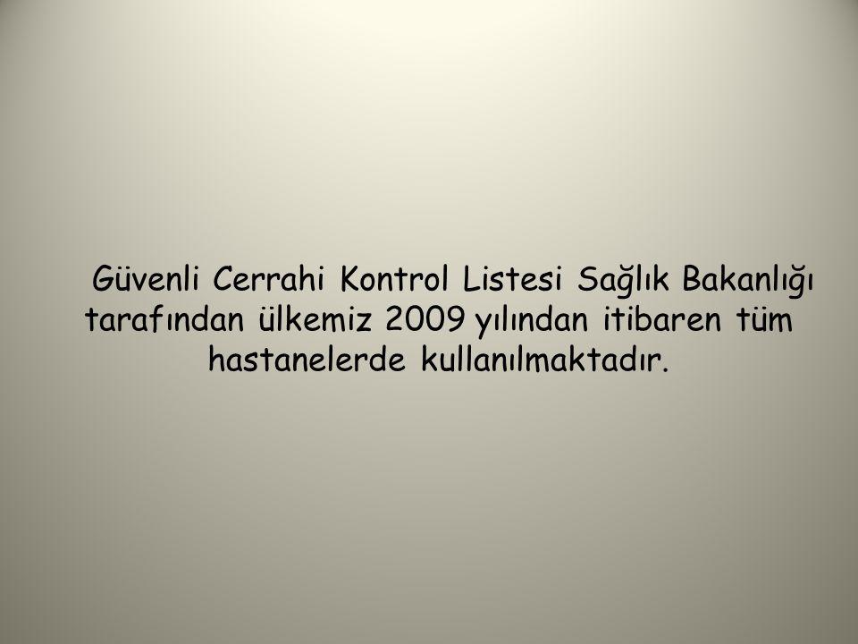 Bu proje sonunda 2008 yılında yayınlanan Güvenli Cerrahi Kontrol Listesi.