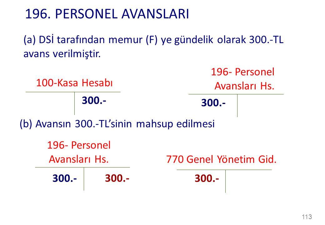 113 100-Kasa Hesabı 300.- (a) DSİ tarafından memur (F) ye gündelik olarak 300.-TL avans verilmiştir.