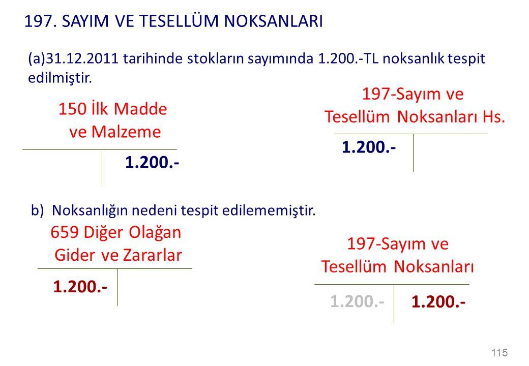 115 150 İlk Madde ve Malzeme 1.200.- (a)31.12.2011 tarihinde stokların sayımında 1.200.-TL noksanlık tespit edilmiştir.