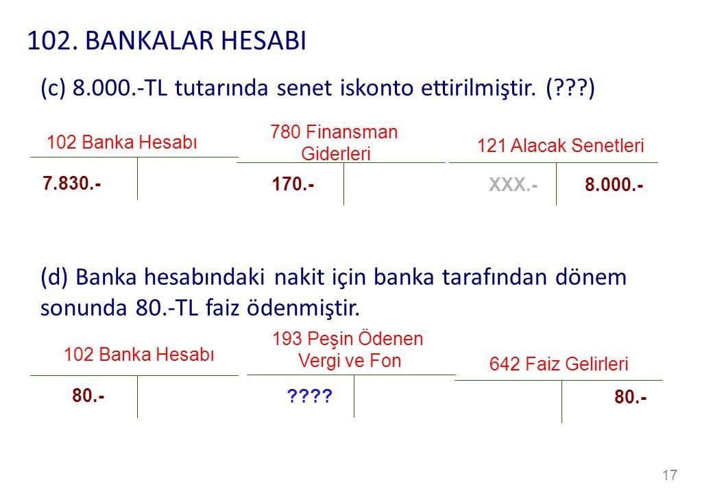 17 780 Finansman Giderleri 102 Banka Hesabı 170.- 7.830.- (c) 8.000.-TL tutarında senet iskonto ettirilmiştir.