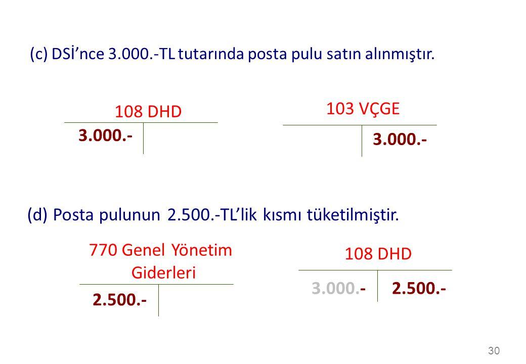 30 103 VÇGE 108 DHD 3.000.- (c) DSİ'nce 3.000.-TL tutarında posta pulu satın alınmıştır.