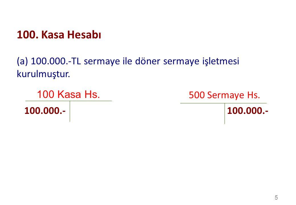 5 100 Kasa Hs.500 Sermaye Hs. 100.000.- 100.