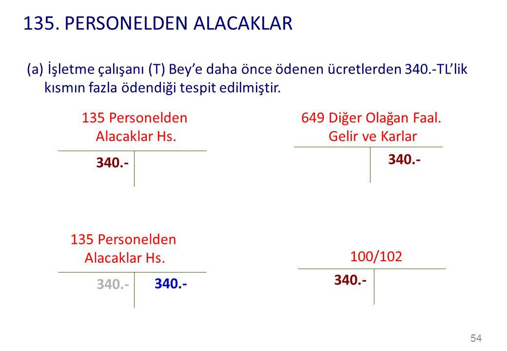 54 135 Personelden Alacaklar Hs.649 Diğer Olağan Faal.
