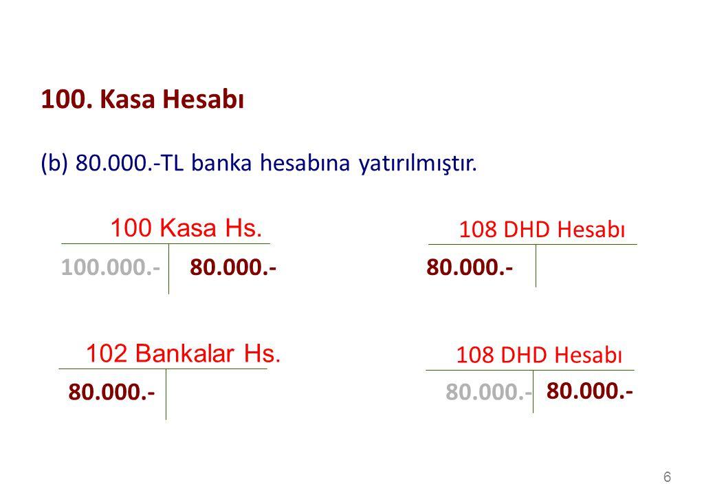 6 100 Kasa Hs.108 DHD Hesabı 80.000.- 100.