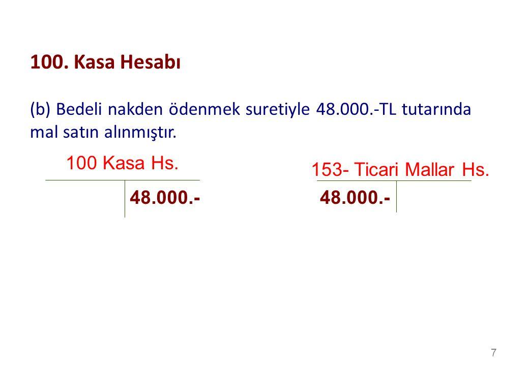 7 100 Kasa Hs.153- Ticari Mallar Hs. 48.000.- 100.
