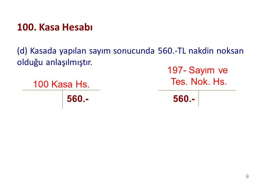9 100 Kasa Hs.197- Sayım ve Tes. Nok. Hs. 560.- 100.