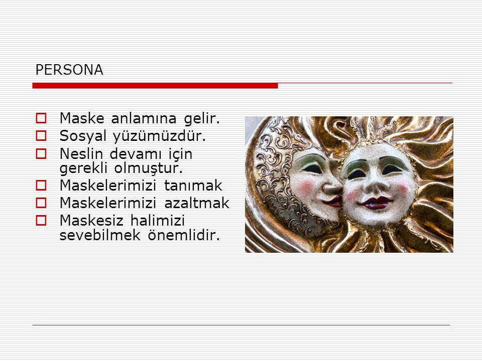 PERSONA  Maske anlamına gelir.  Sosyal yüzümüzdür.  Neslin devamı için gerekli olmuştur.  Maskelerimizi tanımak  Maskelerimizi azaltmak  Maskesi