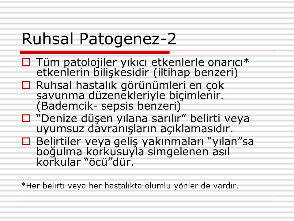 Ruhsal Patogenez-2  Tüm patolojiler yıkıcı etkenlerle onarıcı* etkenlerin bilişkesidir (iltihap benzeri)  Ruhsal hastalık görünümleri en çok savunma düzenekleriyle biçimlenir.