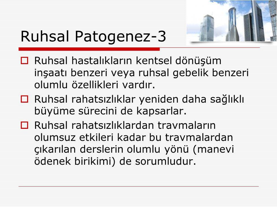 Ruhsal Patogenez-3  Ruhsal hastalıkların kentsel dönüşüm inşaatı benzeri veya ruhsal gebelik benzeri olumlu özellikleri vardır.  Ruhsal rahatsızlıkl